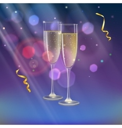 Champagne glasses and streamer with rays of light vector
