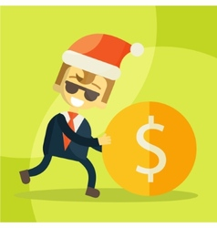 Cheerful businessman rolls coin Christmas vector