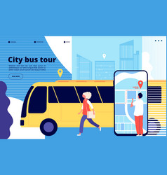 city bus tour tourists and urban bus vehicle with vector image