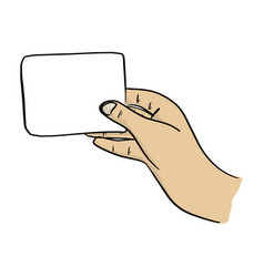 close-up hand holding blank card vector image