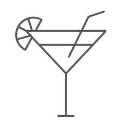 Cocktail thin line icon beverage and drink vector