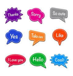 colorful chat stickers vector image