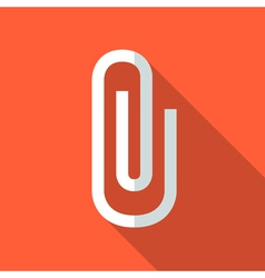 Colorful paper clip icon in modern flat style with vector
