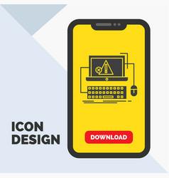 Computer crash error failure system glyph icon in vector