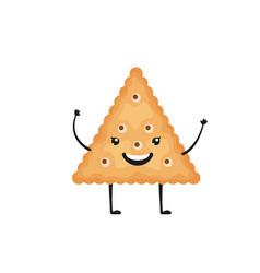 Cracker character funny biscuit cookie in cartoon vector