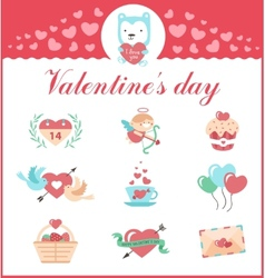 cute set icons for valentines day wedding vector image