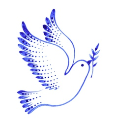 Decorative ornament dove peace vector