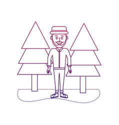 degraded outline happy man with hat style and vector image