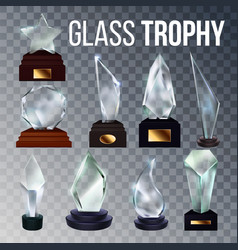 different form collection glass trophy set vector image