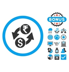 Dollar Rupee Exchange Flat Icon with Bonus vector