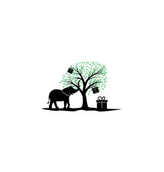 Elephant with tree and box logo design vector