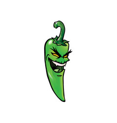 evil green hot chili pepper vector image