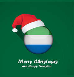Flag of sierra leone merry christmas and happy vector