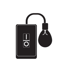 Flat icon in black and white smartphone lightbulb vector image