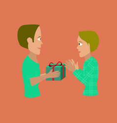 Flat on background of friends gift vector