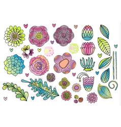 Flower elements set vector