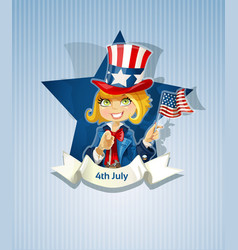 fourth july poster with pretty girl vector image