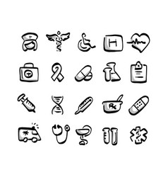 freehand medical icon set with gray shadow vector image