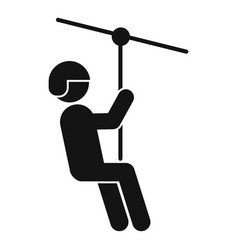 Funny zip line icon simple style vector