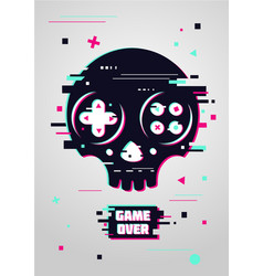 Game over glitchy sign with skull and gamepad vector
