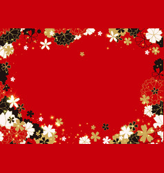 gold red and black horizontal sakura frame or vector image