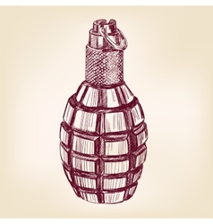Grenade hand drawn llustration realistic vector