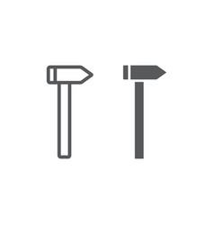 hammer line and glyph icon tool and repair vector image