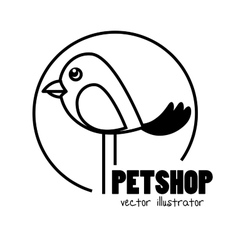Hand draw bird pet shop concept vector