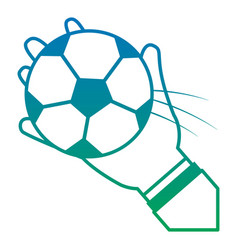 hands with ball football soccer icon image vector image