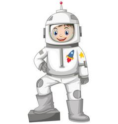 Happy boy in spacesuit vector