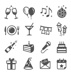 holiday party thin line icons set isolated vector image