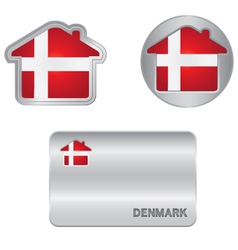 Home icon on the Denmark flag vector image