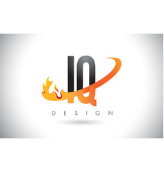 Iq i q letter logo with fire flames design and vector