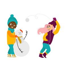 kids having fun outdoors in winter set vector image