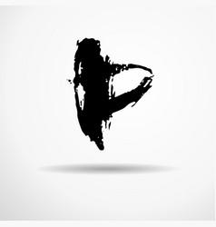 letter p handwritten by dry brush rough strokes vector image