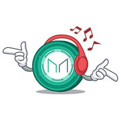 Listening music maker coin mascot cartoon vector