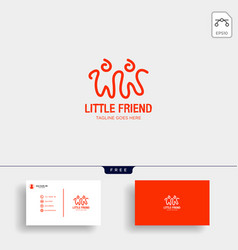 little friend happy creative logo template vector image