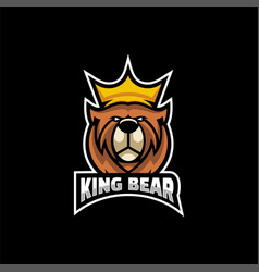 logo king bear e-sport and sport style vector image