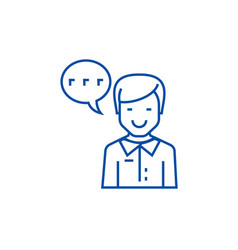 man talking line icon concept man talking flat vector image
