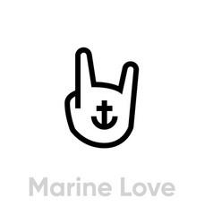 marine love icon editable line vector image