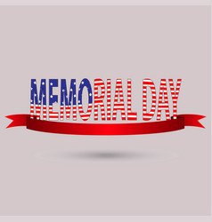 memorial day with text in national flag colors usa vector image