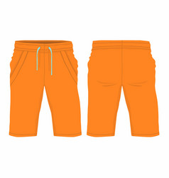 mens orange sport shorts vector image