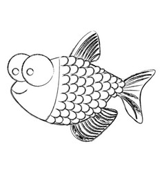 monochrome sketch of fish with big eyes and scales vector image