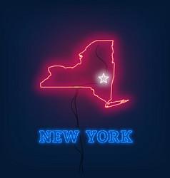 Neon map state of new york on dark background vector