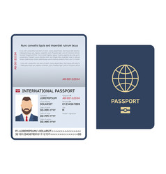 open passport id document male photo page legal vector image