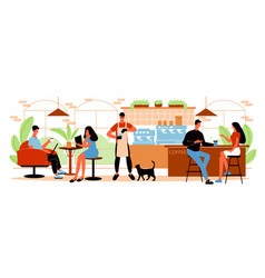 people in cafe horizontal vector image