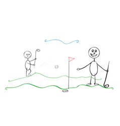 People playing golf together vector