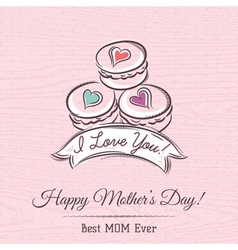 Pink Mothers Day card with macaroni vector