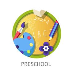 Preschool disciplines to children abc and drawing vector