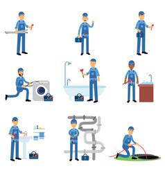 professional plumber in blue uniform at work set vector image